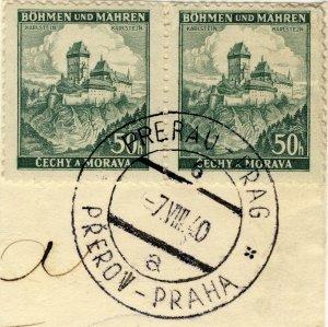 BÖHMEN u. MAHREN - 1940  PRERAU-PRAG / PŘEROV-PRAHA  TPO n°6a CDS on 2xMi.26