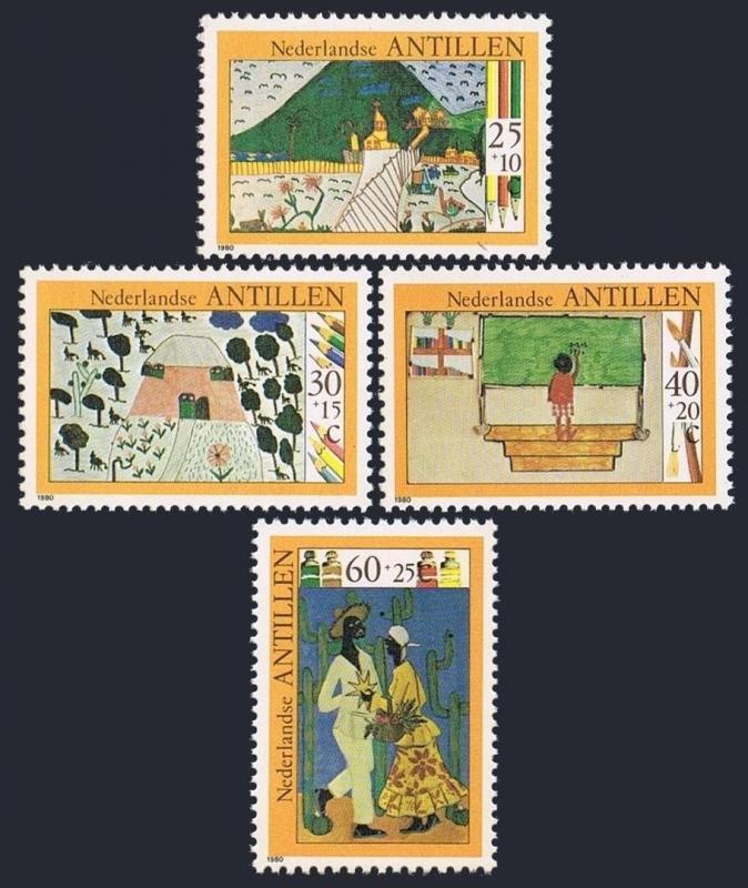 Neth Antilles B178-B181,B181a,MNH.Michel 432-435,Bl.15. Children's drawings,1980