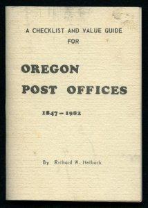 US La Posta Checklist  & Value Guide of OREGON Post Offices by Richard Helbock
