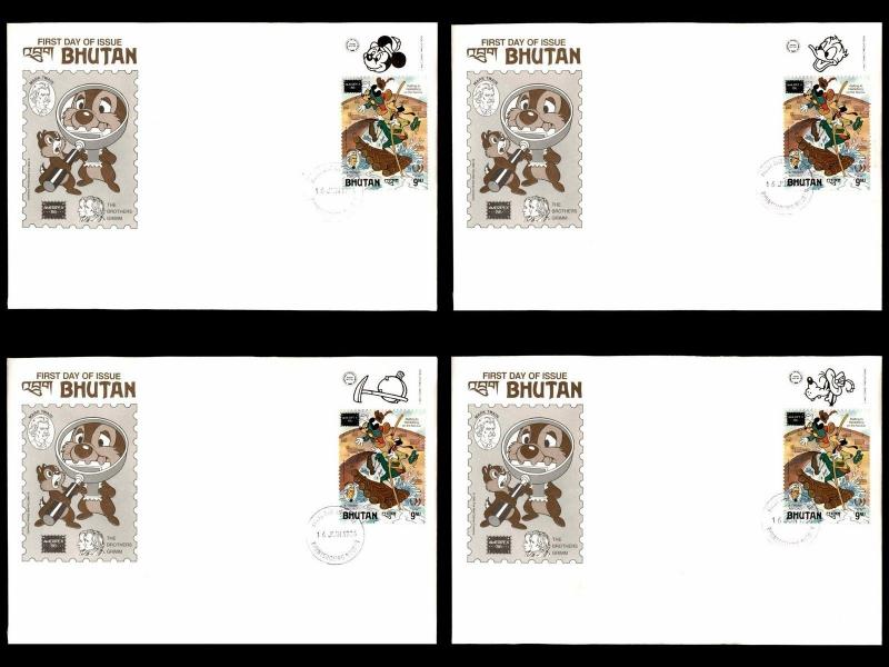 Disney Bhutan 1985 First Day Cover Stamp collection