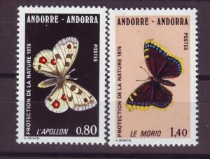 J14350 JLstamps 1976 french andorra set of 2 mnh #251-2 butterflies