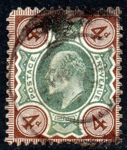 1906 Sg 236a M24/1 4d Green & Chocolate Brown with Double Circle Cancellation