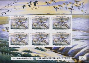 UNITED KINGDOM  2014 DUCK STAMP TUFFED DUCK MINI SHEET By John Davis