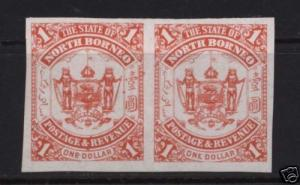North Borneo #70 XF Mint Unused Imperf Pair