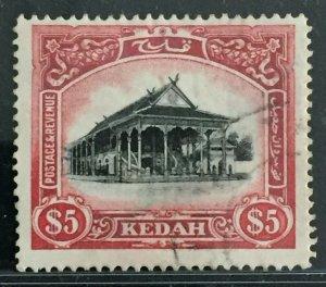 Malaya 1921-26 Kedah $5 MSCA Used SG#40 M2361