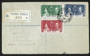 Hong Kong 1938 Sc#151-153 registered cover