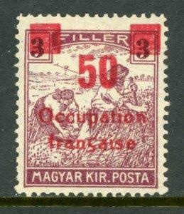 Hungary 1919 French Occupation 50f/3f Sc #1N21 Mint M914 ⭐⭐