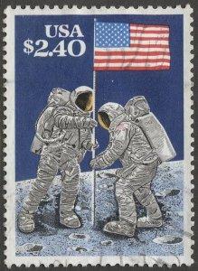 US 1989 Sc 2419  $2.40  Raising Flag on Moon  Used  VF
