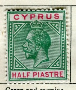 CYPRUS; 1912 early GV issue Mint hinged 1/2Pi. value