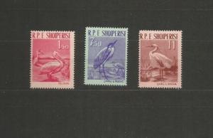 ALBANIA 1961 PELICANS SCOTT 592-4 MNH SCV $23