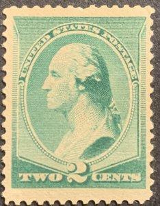 US #213-1887 2c Washington, Green.  MNH.  No Gum.