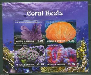 ANTIGUA CORAL REEFS   I  SHEET OF FOUR MINT NH