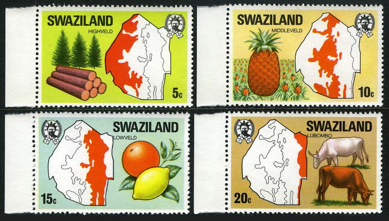 Swaziland 289-292, MNH. Evergreens, timber; Pineapple; Orange, Lemon; Maps, 1977