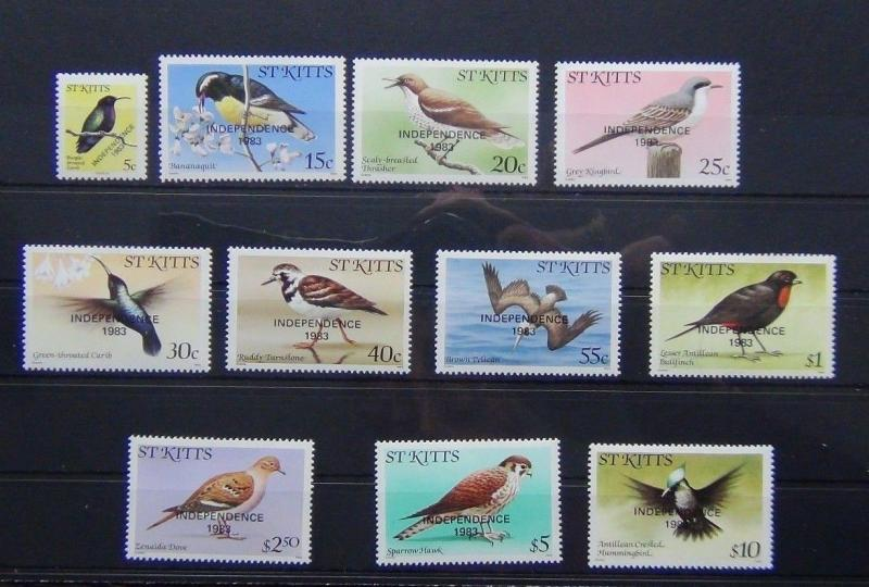 St Kitts 1983 Birds Independence set complete to $10 MNH