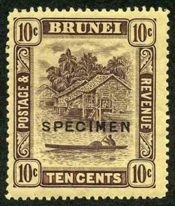 Brunei SG42as 10ct purple on Yellow paper SPECIMEN Type D16 M/Mint