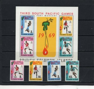 SOLOMON ISLANDS 1969 SOUTH PACIFIC GAMES SET OF 4 STAMPS & S/S MNH