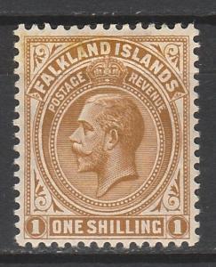 FALKLAND ISLANDS 1912 KGV 1/- WMK MULTI CROWN CA