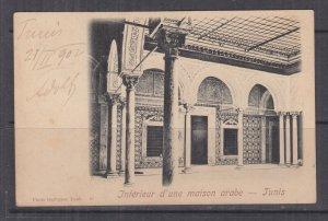 TUNISIA, 1902 ppc. Tunis, Interior of Arab House, 5c. Tunis to Austria.