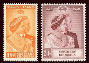 Northern Rhodesia 1948 KGVI Silver Wedding set complete MNH. SG 48-49. Sc 48-49.