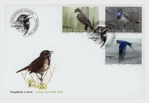 2018 LUXEMBOURG -  RARE BIRDS  - SET ON  FIRST DAY COVER