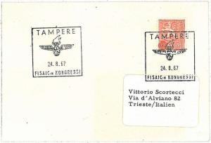 TRAINS - POSTAL HISTORY - SPECIAL POSTMARK on CARD: FINLAND 1967