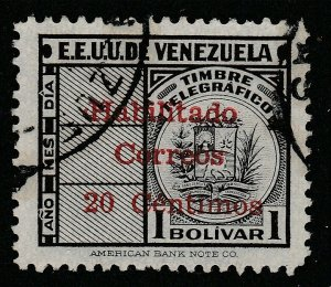 Venezuela 1951 surch 20c on 1b used South America A4P53F69