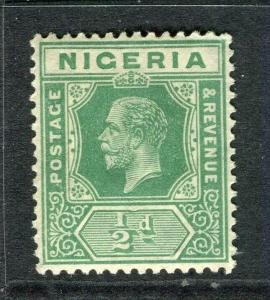 NIGERIA; 1921 early GV issue fine Mint hinged Shade of 1/2d. value