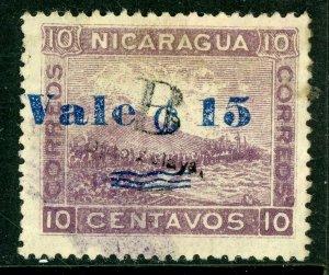 Nicaragua 1904 Bluefields OP 15¢/10¢ Lithographed Momotombo VFU C449 ⭐⭐⭐⭐⭐⭐
