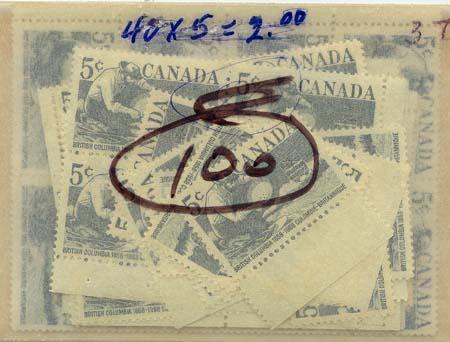 Canada - 1958 Br. Columbia Centennial X 100 mint #377 Includes Blocks - F-VF-NH