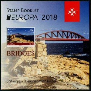 HERRICKSTAMP NEW ISSUES MALTA Sc.# 1625 EUROPA 2018 Bridges Booklet