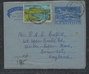 LESOTHO COVER (PP2004B)  1971  5C AIRPLANE AEROGRAM+ 4C DAM SENT TO ENGLAND