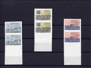 Argentina Stamp Centenary 678 C72-3 (3)Pair Imperf.1958