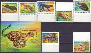 Madagascar. 1994. 1701-7, bl261. Fauna of africa. MNH.