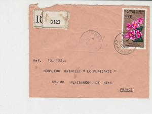 cameroun 1971 flowers airmail stamps cover ref 20452
