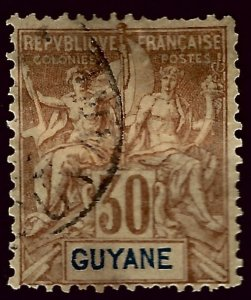 French Guiana SC#44 Used F-VF hr SCV$20.00...Worth a Close look!!