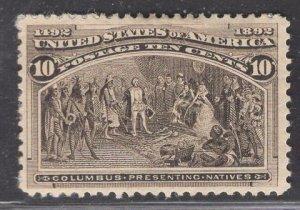 US Stamp #237 10c Black Brown Columbus Presenting Natives MINT HINGED SCV $90.00