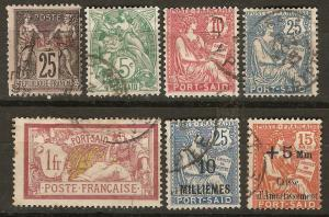 France Off Egypt Pt Said 7 Diff Usd F/VF 1899-1927 SCV $25.3