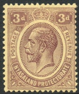 NYASALAND-1921-33 3d Purple/Pale Yellow Sg 105 LIGHTLY MOUNTED MINT V37855