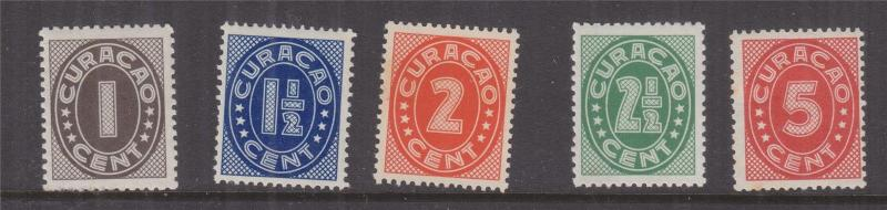 CURACAO, 1942 Figures, Batavia printing, set of 5, lhm.