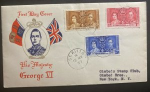 1937 St Kitts & Nevis First Day Cover FDC King George VI Coronation KGVI