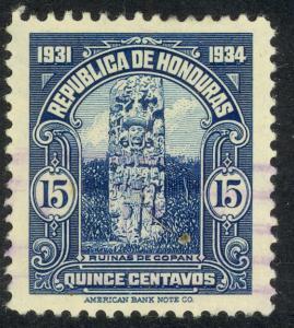 HONDURAS 1931 15c MAYAN STELE Pictorial Issue Sc 303 VFU