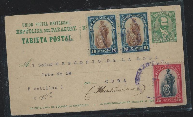 PARAGUAY (P2309B) 1912 2C PSC UPRATED 10CX2+5C TO HABANA