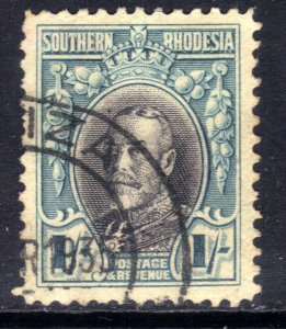 Southern Rhodesia 1931 - 37  KGV 1/-d Black & Blue used SG 23 Perfs 12 ( D1425 )