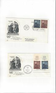 United Nations 15-6  Refugees Artcraft Cachet  2 FDC
