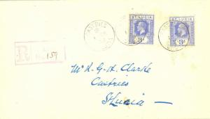 Saint Lucia 3d KGV (2) 1926 Castries, St. Lucia Registered Local use.