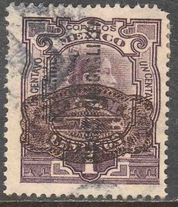 MEXICO 582 5¢ ON 1¢ CONST..+ BARRIL SURCHARGE USED. F-VF. (254)