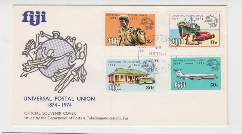FIJI 1974 UPU CENTENARY SET ON FIRST DAY COVER, ILLUSTRATED (SEE BELOW)