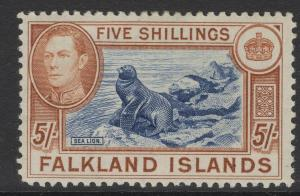 FALKLAND ISLANDS SG161b 1938 5/= INDIGO & PALE YELLOW-BROWN MTD MINT