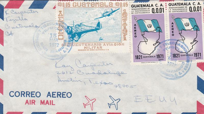 Guatemala C468 / C475 Used on Airmail Cover