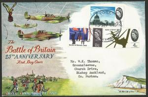 1965 Battle Of Britain 25th Anniversary First Day Cover Typed Address Fine